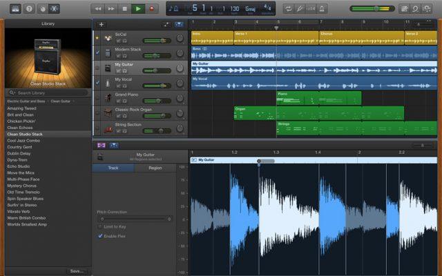 Apple MacOS garageband screen shot