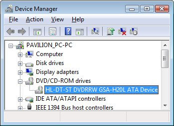 Device manager DVD/CD properties