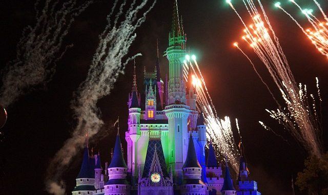 Disney castle with fireworks