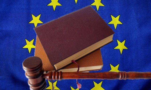 Eu flag with books and gavel