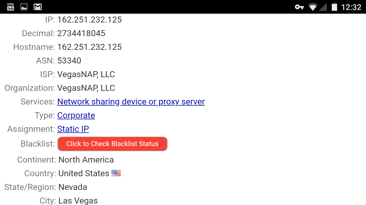 IP address of VPNhub servers